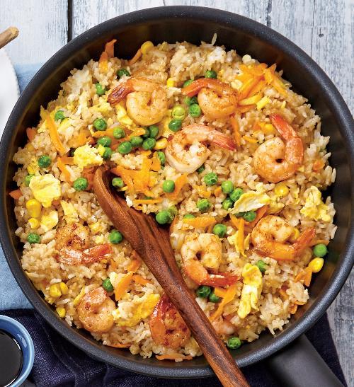 Smažená rýže skrevetami