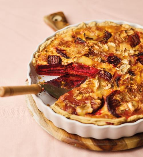 Quiche s červenou řepou a kozím sýrem