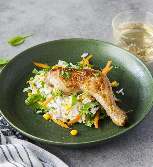 Kuře sjasmínovou rýží a zeleninou