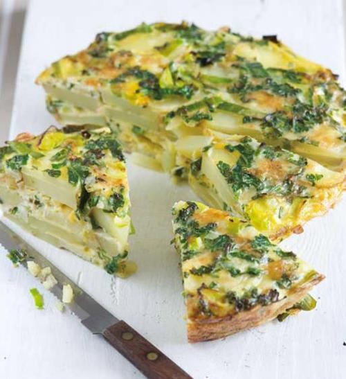 Bramborová omeleta s pórkem