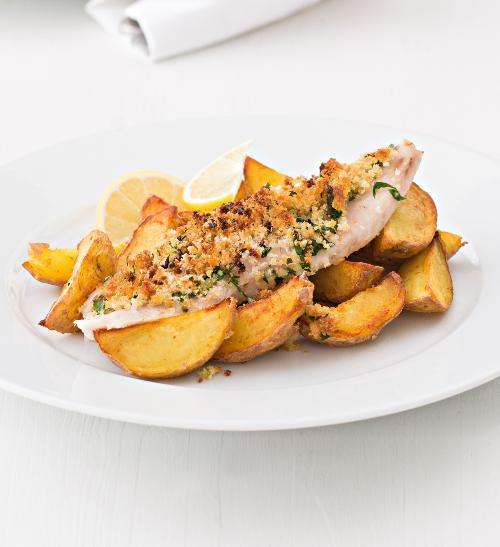 Citronovo-bylinková ryba s pečenými bramborami