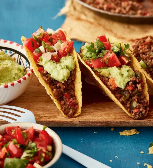 Tacos s hovězím masem a guacamole