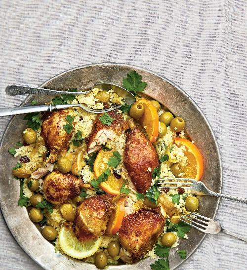 Dušené kuře scitrusy a  olivami