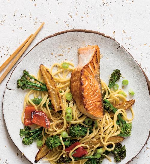 Asijské nudle se zeleninou alososem