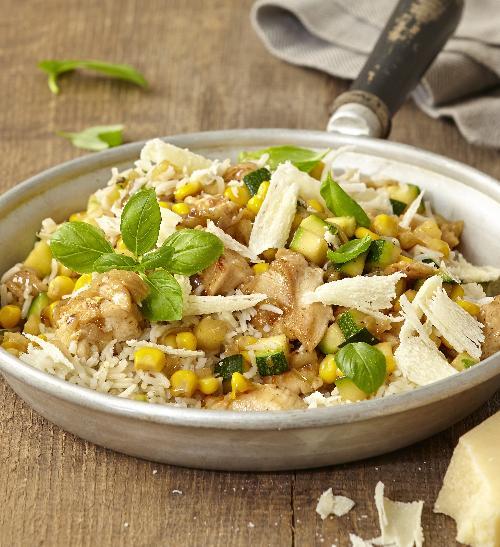 Rýže skuřecím masem, kukuřicí acuketou